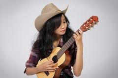 Donna del musicista del paese Fotografia Stock Libera da Diritti