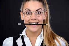 Donna del nerd immagine stock