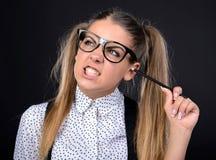 Donna del nerd fotografia stock libera da diritti