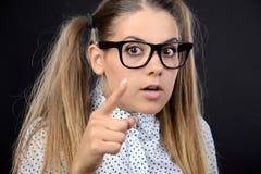 Donna del nerd immagini stock