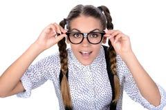 Donna del nerd Fotografie Stock Libere da Diritti