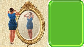 donna del overwieght di 03 cartoni animati che guarda in specchio, fondo di schermo verde royalty illustrazione gratis