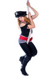 Donna del pirata che appende su una corda Fotografia Stock Libera da Diritti