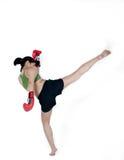 Donna del pugile con il guanto rosso Fotografie Stock Libere da Diritti