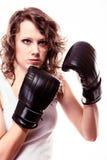 Donna del pugile di sport in guanti neri. Ragazza TR di forma fisica Fotografie Stock