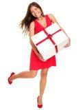 Donna del regalo dei biglietti di S. Valentino su priorità bassa bianca Fotografia Stock
