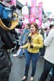 Donna del reporter Fotografie Stock
