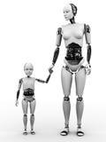 Donna del robot con il suo bambino. Fotografia Stock Libera da Diritti