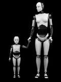 Donna del robot con il suo bambino Fotografia Stock