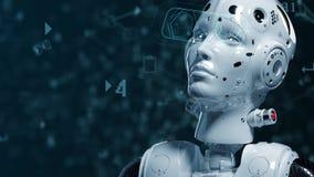 Donna del robot, donna di fantascienza stock footage