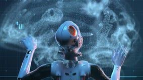 Donna del robot, donna di fantascienza illustrazione vettoriale