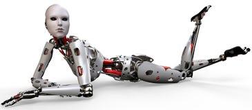 Donna del robot su Flor Fotografia Stock Libera da Diritti