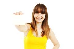 Donna del segno della scheda del regalo Fotografia Stock Libera da Diritti