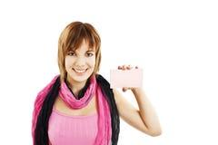 Donna del segno della scheda del regalo Fotografia Stock