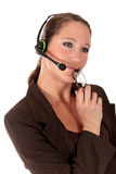 Donna del servizio d'assistenza che comunica Immagini Stock