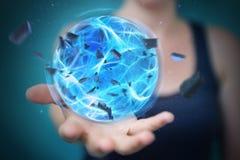 Donna del supereroe che crea una palla di potere con la sua rappresentazione della mano 3D Immagini Stock Libere da Diritti