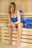 donna del tovagliolo di sauna Fotografia Stock