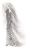 Donna del vestito da scacchi Fotografia Stock Libera da Diritti