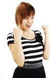 Donna del vincitore che celebra successo Immagine Stock Libera da Diritti