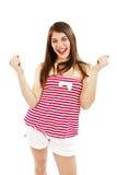 Donna del vincitore che celebra successo Immagini Stock