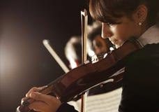 Donna del violinista Fotografie Stock Libere da Diritti