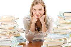 Donna dell'adolescente dell'allievo con i libri Immagini Stock Libere da Diritti
