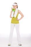 Donna dell'adolescente di forma fisica in attrezzatura allegra Immagini Stock Libere da Diritti