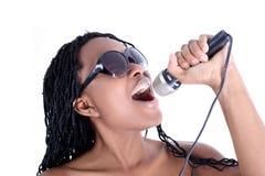 Donna dell'afroamericano del cantante Fotografie Stock