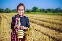 Donna dell'agricoltore con il trasportatore del tiffin nel giacimento del riso Immagine Stock