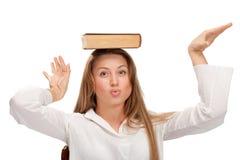 Donna dell'allievo con il libro Fotografia Stock Libera da Diritti