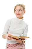 Donna dell'allievo con il libro Immagini Stock Libere da Diritti