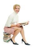 Donna dell'allievo con il libro Immagine Stock