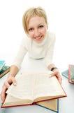 Donna dell'allievo con il libro Immagini Stock