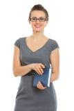 Donna dell'allievo con il taccuino e la penna Fotografia Stock Libera da Diritti