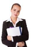 Donna dell'allievo in vestito di affari con i libri Fotografia Stock Libera da Diritti