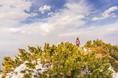 Donna dell'alpinista nelle montagne Fotografie Stock