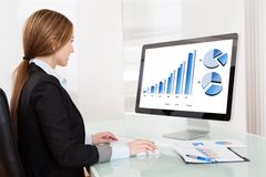 Donna dell'analista di affari che lavora al computer immagine stock libera da diritti