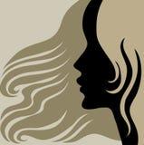 Donna dell'annata del primo piano con bei capelli lunghi Fotografia Stock