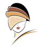 Donna dell'annata in un cappello Immagini Stock Libere da Diritti