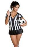 Donna dell'arbitro di calcio Fotografia Stock