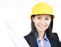 Donna dell'architetto del casco Fotografia Stock