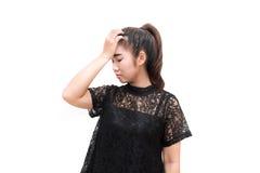 Donna dell'Asia che ha emicrania Fotografia Stock