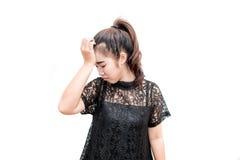 Donna dell'Asia che ha emicrania Fotografie Stock Libere da Diritti