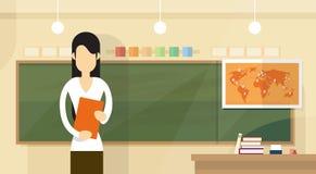 Donna dell'aula di Over Class Board dell'insegnante con progettazione piana di lezione del libro illustrazione di stock