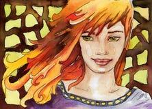 Donna dell'illustrazione dell'acquerello illustrazione di stock