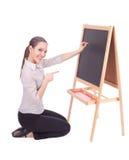Donna dell'insegnante con la lavagna Fotografia Stock Libera da Diritti