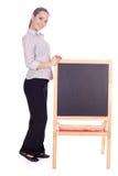 Donna dell'insegnante con la piccola lavagna Immagini Stock Libere da Diritti