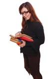 Donna dell'insegnante della ragazza con il libro di lettura dello studente di vetro isolato sopra Immagine Stock Libera da Diritti