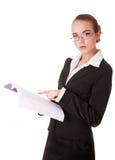 Donna dell'insegnante in vestito di affari con il libro Immagini Stock Libere da Diritti