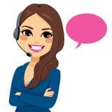 Donna dell'operatore del telefono della call center Fotografia Stock